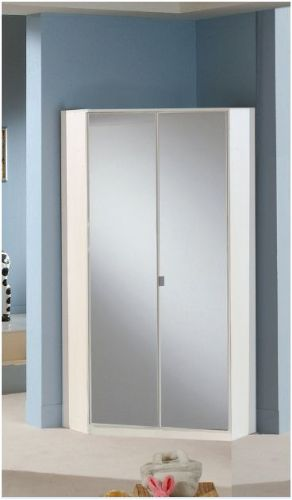 Milano Mirror and White 2 Door Corner Wardrobe - 2292